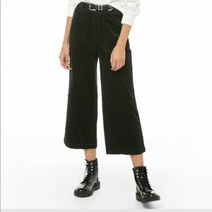 Wide leg high rise cropped cords